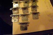 10 Gold Tone Cabinet Hinges in Very Good Condition, No Screws
