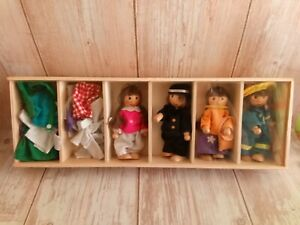 Goki Toys Germany Dress Up Box Wooden Dolls Lot of 4