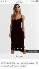 Ladies ASOS cami Midi Slip Dress Size 10 Wine