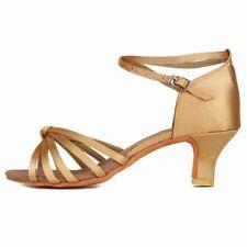 DKZSYIM Women's Beige Satin Latin Dance Shoes Ballroom Performance Shoes,Model..