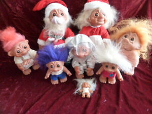 Lot of 8 Vintage Dam Troll Dolls made in Denmark Santa Claus Astronaut......