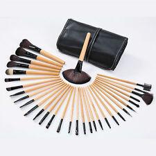 Professional 32 Pcs Kabuki Make Up Brush Set and Cosmetic Brushes Case Black