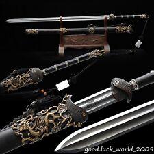 Rare Boutique Chinese Sword Folded Pattern Steel Copper Ebony Sheath Razor Sharp