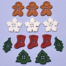 DRESS IT UP Buttons Chunky Shapes Mini Mix 4617 - Gingerbread Man Christmas