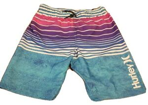 NEW Hurley Boy's Striped Swim Trunks Board Shorts Waist Size 14/16 Inseam 9.25""
