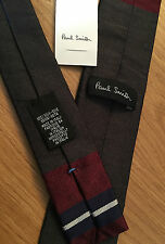 Paul Smith MULTISTRIPE Tie Square End Narrow MAINLINE 5cm 100%Silk Made in Italy