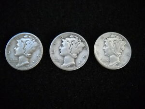 LOT OF 3 - 1940 W AMERICAN MERCURY DIME DIMES SILVER COIN COINS