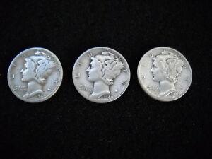 LOT OF 3 - 1940 W AMERICAN MERCURY DIME DIMES SILVER COIN COINS
