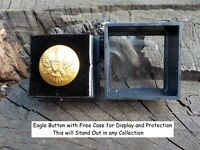 Old Rare Vintage Antique War Relic Eagle Coat Button Case for Display Protection