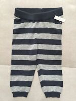 New Boys Baby Tea Blue Gray Knit Cotton Pants Size 3-6 Month