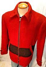 Stunning Vintage 40's HUDSONS BAY POINT BLANKET Coat Parka Red/Black Sz 42