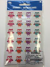 96 colorful owl stickers 4 sheets of 24 teacher supply woodland party supply