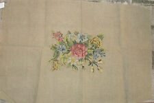 Vtg NEEDLEPOINT Penelope Canvas FLORAL CENTER ROSES Pre-worked Basted 24x36