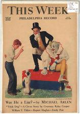 Rare Orig VTG 1935 This Week Leslie Thrasher Circus Dog Cover Only Art Print