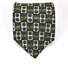 Kenneth Cole Tie Beautiful Green Blue Geometric 100% Silk Rare Dress Elegant Tie