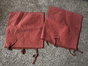 Pottery Barn Silk Quilted Velvet Euro Pillow Sham Set of 2 Dark Dusty Rose