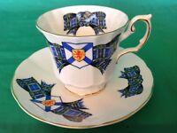 BONE CHINA CUP & SAUCER ELIZABETHAN NOVA SCOTIA TARTAN PLAID BLUE GREEN