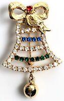 Vintage Prong Set Bell Brooch Pin Dangle Bow Rhinestone Gold Tone Christmas