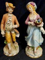 "ARDALT Lenwile Artware Pair Victorian Couple Handmade 12"" Tall Statue Midcentury"