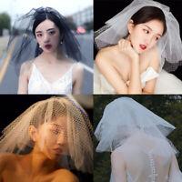 US Ivory White Bridal Wedding Veil Short Bridal Grid Tulle Veil with Metal Comb