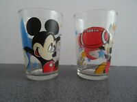 MICKEY MOUSE Vintage Sports Small Tumblers Glasses Soccer Football Disney Retro