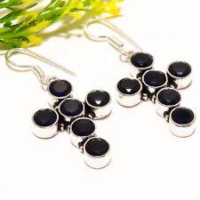 "Fashion Jewelry Earring 1.97"" Se-1787 Black Onyx Gemstone Handmade Silver"
