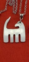Silver Plate Fork Dog Pendant Stainless Chain Necklace Canine Fashion Jewelry