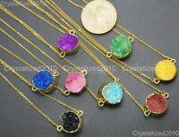 Natural Druzy Quartz Agate Round Connector Charm Beads Bracelet Necklace Gold