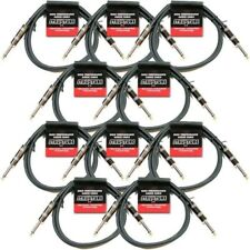 10-PACK 3' FOOT 1/4 MONO GUITAR INSTRUMENT PATCH CABLE CORD STRUKTURE ABS