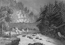 Estampe Gravure sur acier XIXe - Rapides du Mohawk New York Etats-Unis USA