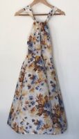 NWT MASSIMO DUTTI FLORAL TEA DRESS CREAM BLUE FIT FLARE MIDI 40s 50s RRP125 MD40