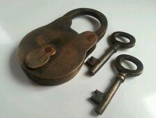 Vintage Antique Style BRASS PADLOCK with Skeleton KEYS LOCK works great  #L2