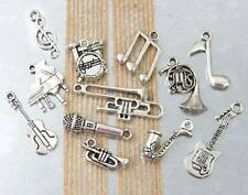 12 MUSIC Theme Charms Antique Silver Mixed Set Collection Lot Instruments Jazz