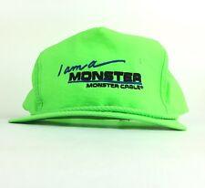 Vtg I Am A Monster - Monster Cable Neon Green Nylon Baseball Cap Hat Adj Adult