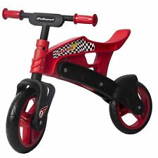 Polisport Childrens Balance Bike Plastic Boys Girls Training Bicycle Red Black