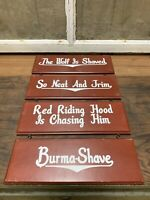 Burma Shave Hanging Signs Set Of 4 Red Riding Hood Wolf Advertising Painted Wood
