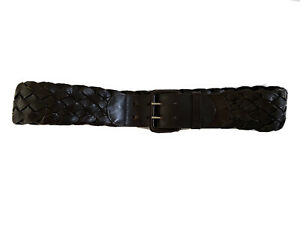 Country Road Size S 10 12 Belt Dark Brown Wide Plaited Leather 86cm - 94cm