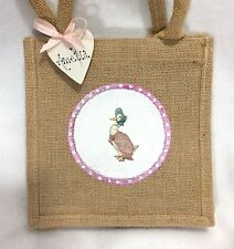 Personalised Handcrafted Jemima Puddleduck Beatrix Potter Mini Jute Gift Bag
