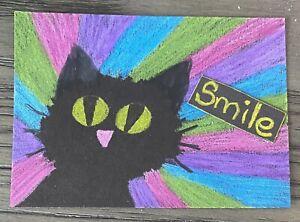 ACEO Original Smile Positivity Cat Radiant Jenal