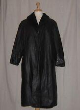 vtg 50s BLACK leather STROLLER coat SWING JACKET faux fur JEAN EDWARDS osfm