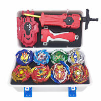 8x Beyblade Burst Booster Set with Launcher + White Storage Box Spinning Top
