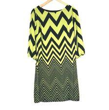 Enfocus Studio Womens Sz 8 Lime Green And Black Chevron Print Sheath Dress