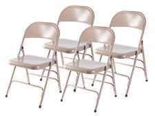 New Bold Tones Beige Full Metal Curved Triple Braced Folding Chair, Set of 4