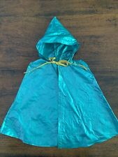 "Vintage 1950'S Handmade Doll Clothes For 22"" Doll Teal Rain Cape W/Hood"