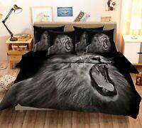 3D Black Background Lion KEP465 Bed Pillowcases Quilt Duvet Cover Kay