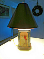 VTG Frederick Cooper GOLF Tin Tea Canister Golfer Table Lamp Toleware Orig Shade