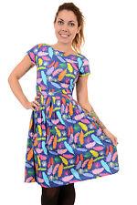 Ladies 50s 60s Indie Retro 'Feather Me Up' Tea Party Belt Dress