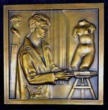 Art Deco Sculpture Woman Body Bronze Plaque Medal by M. NORTE 80 mm x 80 / N143