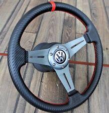 VW Golf Jetta Scirrocco Mk1 Mk2  Carbon Look Leather Steering Wheel