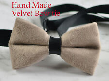 Men Unisex Mink Pavilion Beige Velvet Bow Tie Bowtie Craft Wedding Party